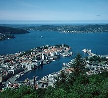 Bergen from Above on funicular Norway 198406110011m  Kodachrome by Fred Mitchell
