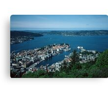 Bergen from Above on funicular Norway 198406110011m  Kodachrome Canvas Print