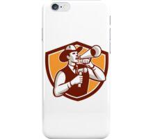 Cowboy Auctioneer Bullhorn Gavel Shield iPhone Case/Skin