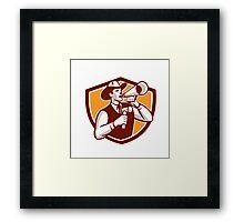 Cowboy Auctioneer Bullhorn Gavel Shield Framed Print