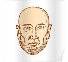 Male Bald Head Bearded Etching Poster