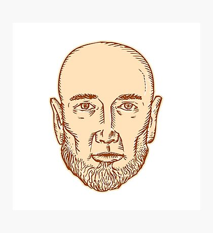 Male Bald Head Bearded Etching Photographic Print