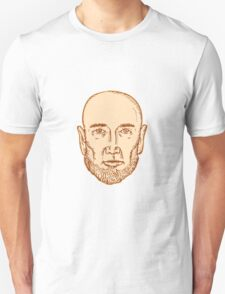 Male Bald Head Bearded Etching T-Shirt