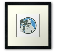Cameraman Vintage Video Camera Circle Retro Framed Print