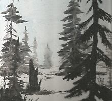 Black and white winter forest by FEMstuff
