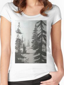 Black and white winter forest Women's Fitted Scoop T-Shirt