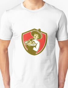 Mexican Chef Cook Serving Taco Plate Shield T-Shirt