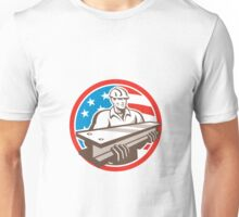 Construction Steel Worker I-Beam USA Flag Circle Unisex T-Shirt