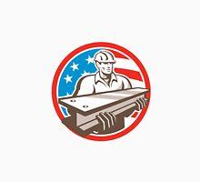 Construction Steel Worker I-Beam USA Flag Circle Unisex T-Shirt