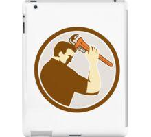 Plumber Holding Monkey Wrench Side Circle Retro iPad Case/Skin