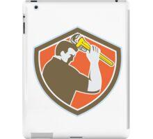 Plumber Holding Monkey Wrench Crest Retro iPad Case/Skin
