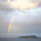Sunset Rainbow over Shoe Island from Mt Paku Tairua New Zealand by Vicktorya Stone