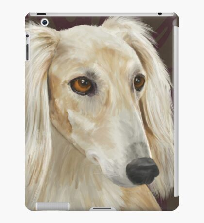 Gorgeous Light Fur Saluki Dog on Brown Background iPad Case/Skin