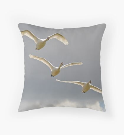 Three Swans a Flying Throw Pillow