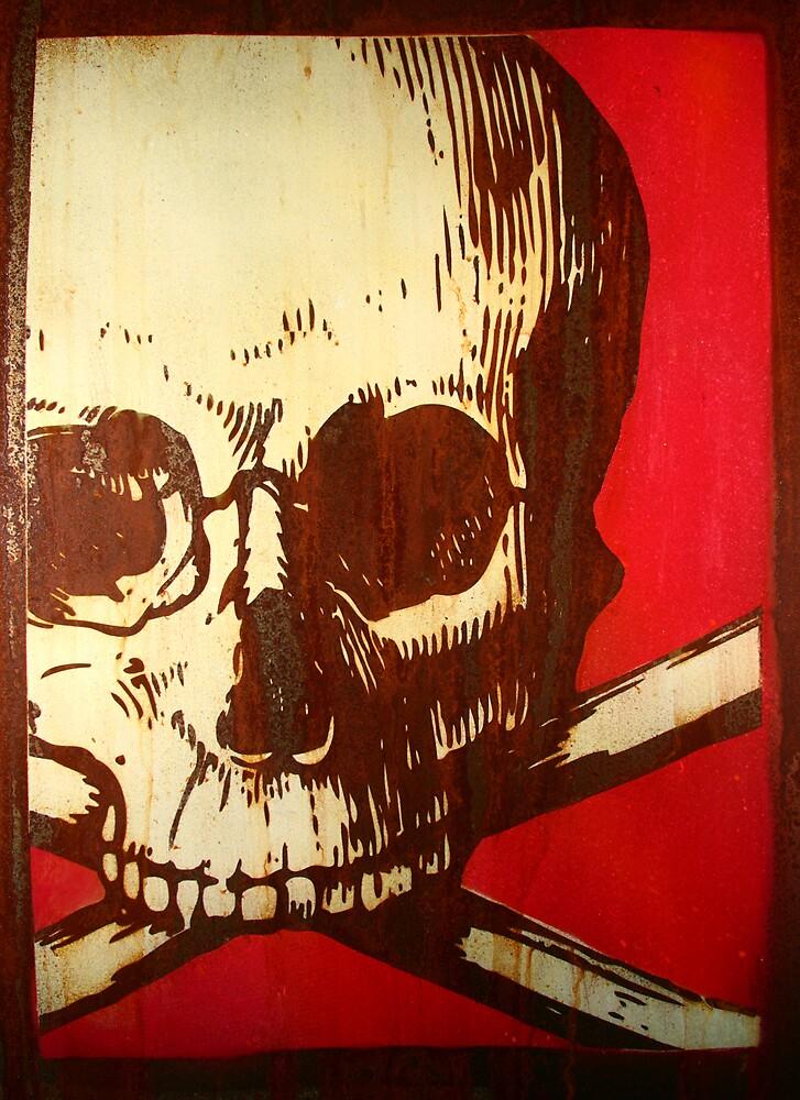 Skull on steel by rickdickinson