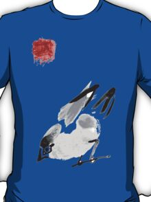 watercolor drawing bird, robin at white background, hand drawn vector illustration T-Shirt