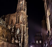 Strasbourg - Cathedral at Night by Michael Breitung