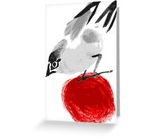 watercolor drawing bird, robin at white background, hand drawn vector illustration Greeting Card