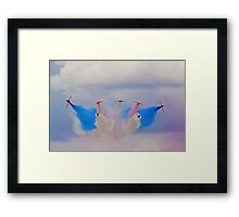 Break In The Clouds - The Red Arrows - Dunsfold 2014 Framed Print