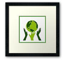 Green Hands Earth. Environment. Framed Print