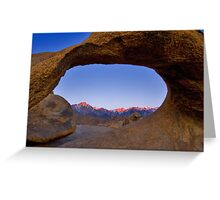 Lone Pine Mountains Painted With Light View through Arch Rock Greeting Card