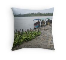 Bananas by the Riverside Throw Pillow