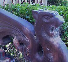 Gargoyle and Cobwebs close up  by Linda Scott