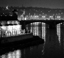 """Nightscape from Charles Bridge # 3 (Prague) """"INK OUTLINES"""" by ChrisHarvey67"""