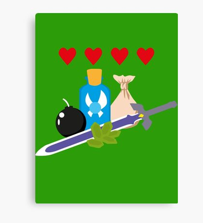 Legend of Zelda Items Canvas Print