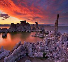 Mono Lake Sierra Wave Sunset by photosbyflood