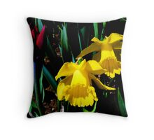 Tulip and Two Daffodils. Throw Pillow