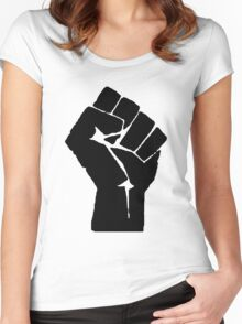 Solidarity Fist Salute Black Women's Fitted Scoop T-Shirt
