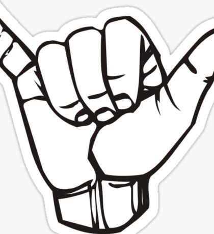 Gnarly Hand Sign Bodacious Sticker