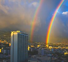 Double Loud Rainbow over Waikiki by photosbyflood
