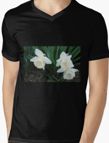 Three White Daffodils Mens V-Neck T-Shirt