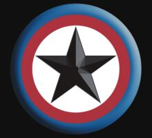 Bulls Eye Star, on Black, Right on Target, Roundel, Archery, Star, Badge, Buttton by TOM HILL - Designer