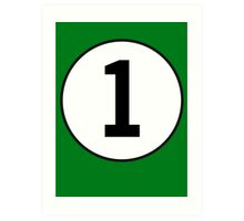 1, First, Number One, Number 1, Racing, Numero Uno, British Racing Green Art Print