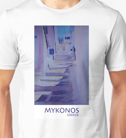 Enchanting Mykonos Greece View with Stairs  Unisex T-Shirt