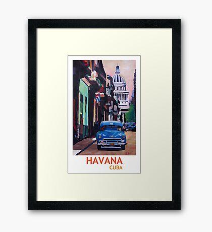 Havana in Cuba  - El Capitolo with oldtimer Framed Print
