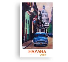 Havana in Cuba  - El Capitolo with oldtimer Canvas Print