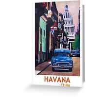 Havana in Cuba  - El Capitolo with oldtimer Greeting Card