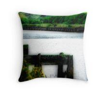 Old Rail Wharf, Patea Throw Pillow