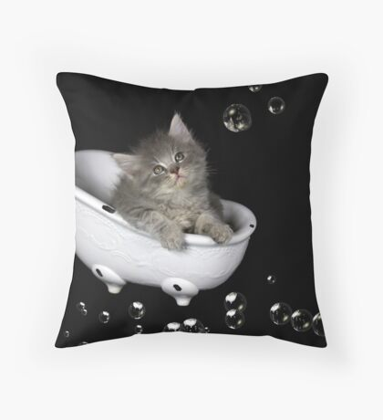 Dusty in the Tub Throw Pillow