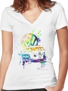 Volkswagen Kombi Splash © Women's Fitted V-Neck T-Shirt