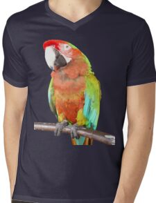 Vector Style Harlequin Macaw On A Perch Mens V-Neck T-Shirt