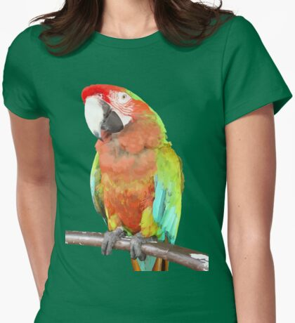Vector Style Harlequin Macaw On A Perch Womens Fitted T-Shirt