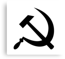 Hammer and Sickle in Black Canvas Print