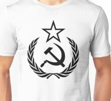 Hammer and Sickle with Star and Wreath Black Unisex T-Shirt