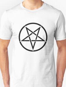 Upside Down Pentagram in Circle T-Shirt