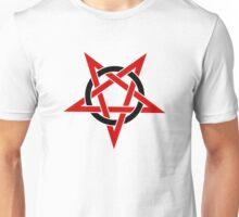 Upside Down Red Pentagram in Black Circle Unisex T-Shirt